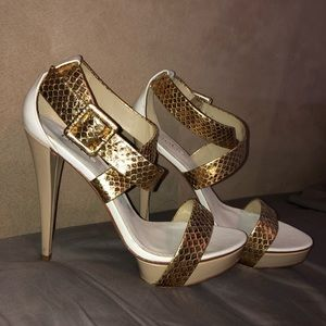 White and gold bebe heeled sandals